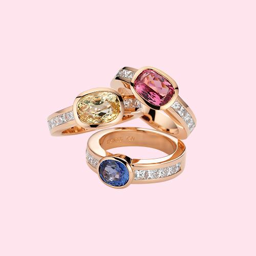 Ringe Spinell <br> Gelber Safir <br> Blauer Safir <br> Diamant-Princess