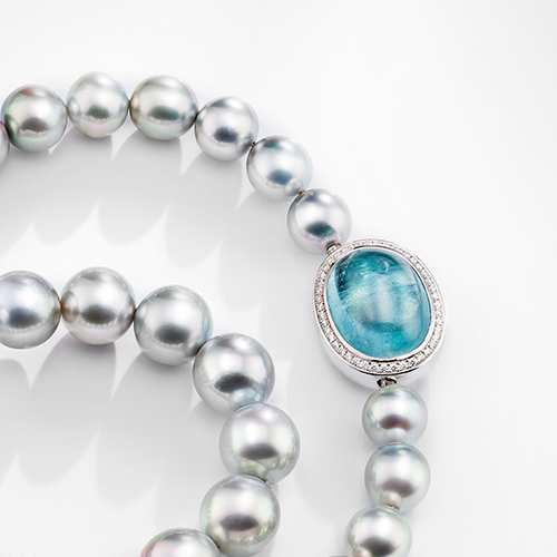 Tahiti-Perlenkette<br>Aquamarin & Brillanten
